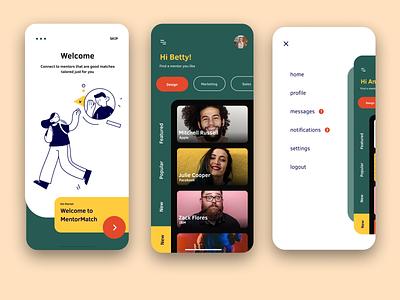 MentorMatch - Mentor App vector ux user interface ui design uidesign ui onboarding mobile app mobile menu mentorship mentors mentoring mentor illustrations figma design dashboad app design app