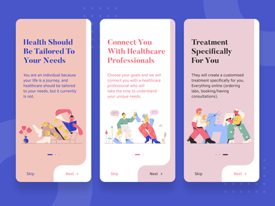 Reborn Health - Onboarding pharmacology pharma mobile ios interface illustration graphics drugs daily ui clinical activity pharmacy people onboarding medical health doctor character appointment app