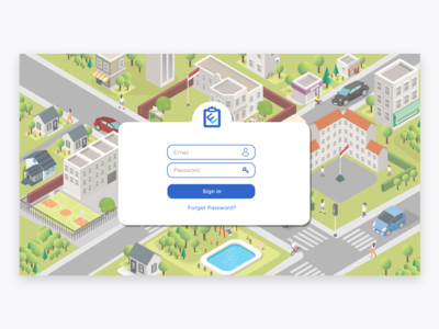 Isometric login page