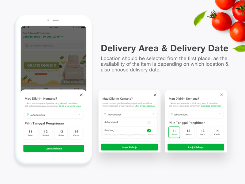 Delivery date & area user interface uiuxdesign uiux indonesia jakarta designer sheet delivery sayurbox mobileapps mobileapp ios android vegetabels fresh organic popup calendar deliverydate buttom sheet