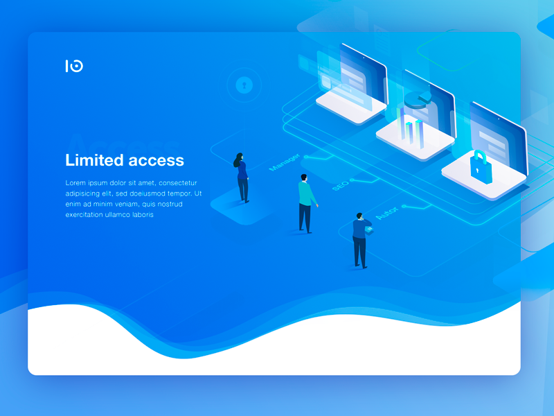 Limited acces for users landing isometric analytics art illustrations