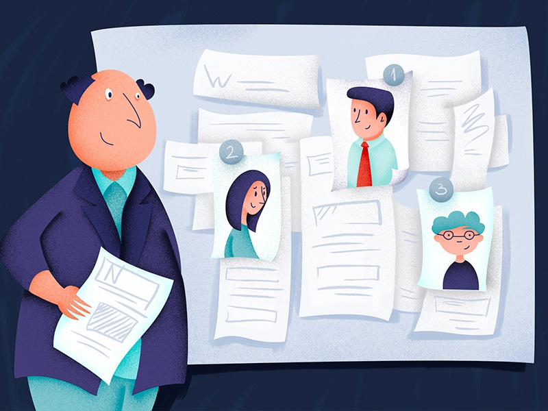 Recruitment search data people vector illustration drawing hr