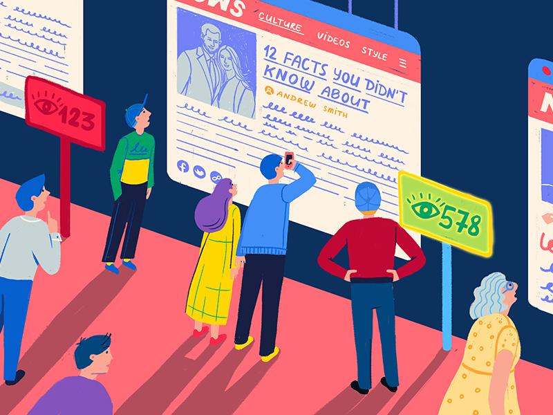 Virtual pageviews analytics views media editorial character vector illustration drawing data