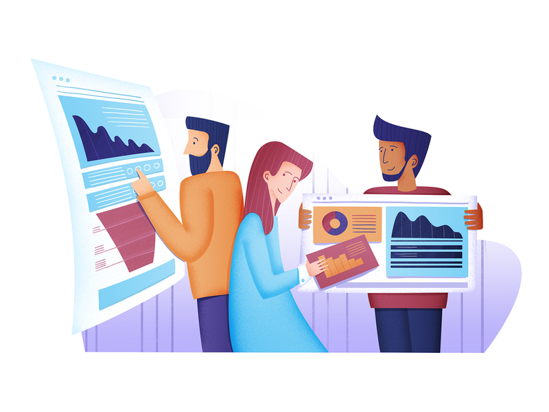 Dashboard illustrations editorial ui design data character drawing people content charts illustration vector dashboard analytics