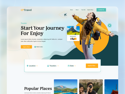 Travel Landing Page Exploration designs template traveling travel agency tour website tour airbnb ux agency illustration typography web landing page website design booking app 2021 tourism travel