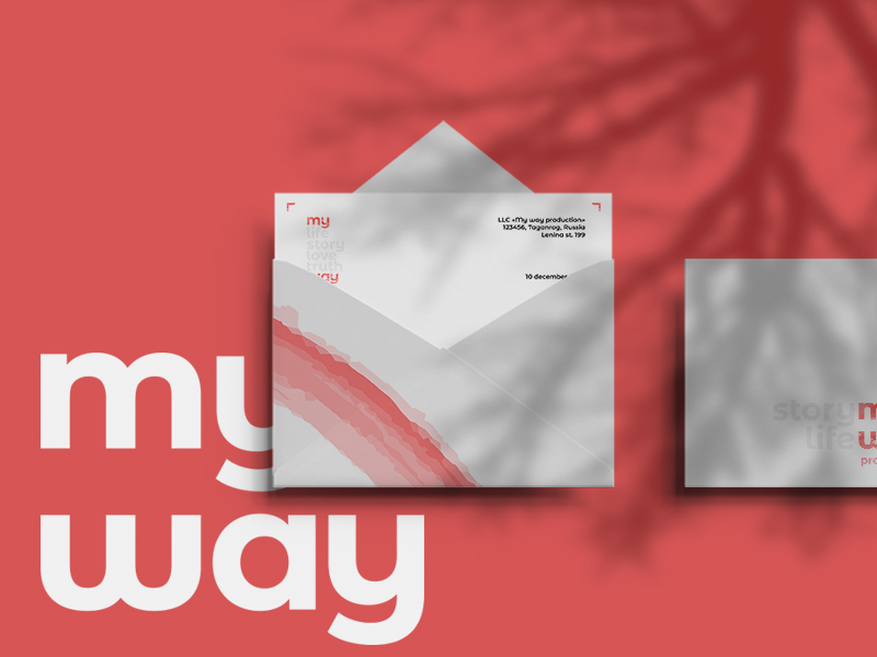 my way prod. envelope production sans serif typography simple logo logotype identity branding brand