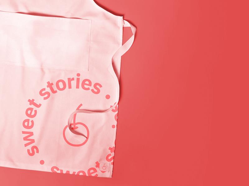 Sweet stories cherry bakery branding typography sans serif cakes identity logotype