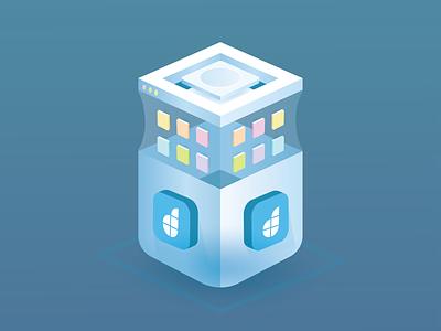 App Container apps code developement platform project gradient hero web mobile illustration app container