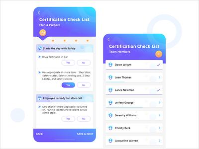 Certification Check List store prepare plan members team app employee quiz list checklist check certification madewithadobexd mobile ganesha