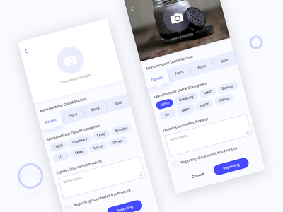 Reporting Counterfeit Product category reporting front section detail manufacture product ui madewithadobexd mobile ganesha