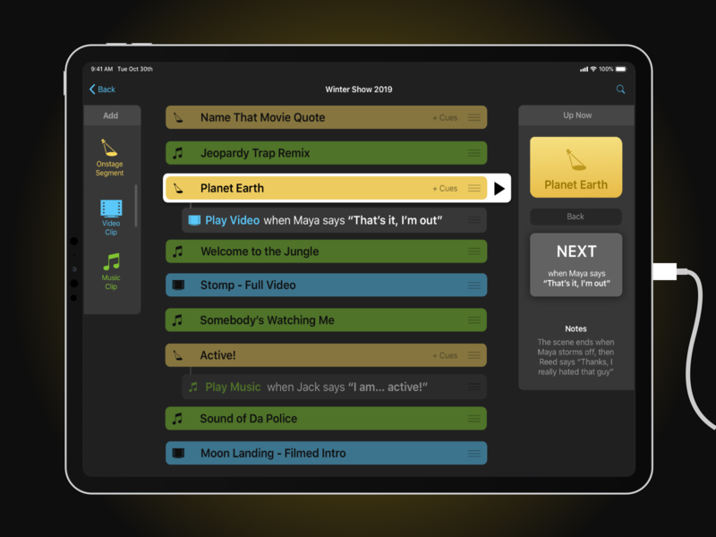 Live Show Cues App Concept by Punya Chatterjee on Dribbble
