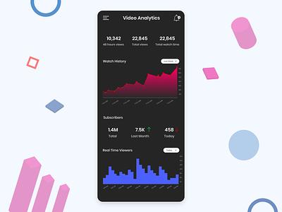 Analytics Dark mobile app app mobile ui report chart charts data analysis