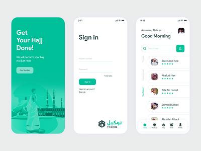 Tawkil-Hajj app ui ux design concept branding art app adobe xd 3d 2d logo typography illustration animation minimal design clean ui ui ux islamic islam الحج والعمرة