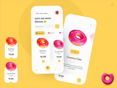 Donuts App 🍩😋 mobile sweets donuts app plastic animation cute branding typography flat minimal c4d 3dmodelling donut app design ui  ux app concept sweet tooth icon vector illustration liquid motion food app design 3d illustration donut
