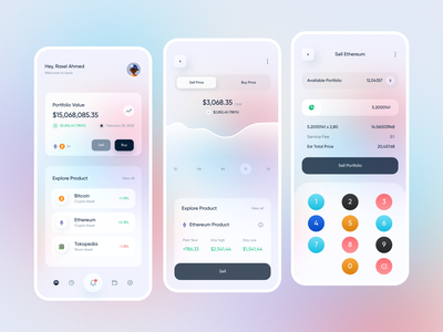 Investment App Design  💰💵 shot branding logo clean ui profile mobile protopie 3d design ux ui interface statistics fintech crypto wallet cryptocurrency stocks finance app investments