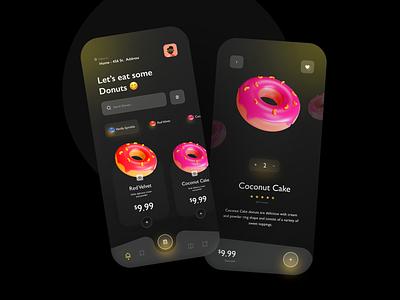 Donuts App 🍩😋- Dark Version food app design liquid motion vector illustration icon sweet tooth app concept ui ux donut app design 3dmodelling c4d minimal flat 3d typography branding cute animation plastic mobile sweets donuts app
