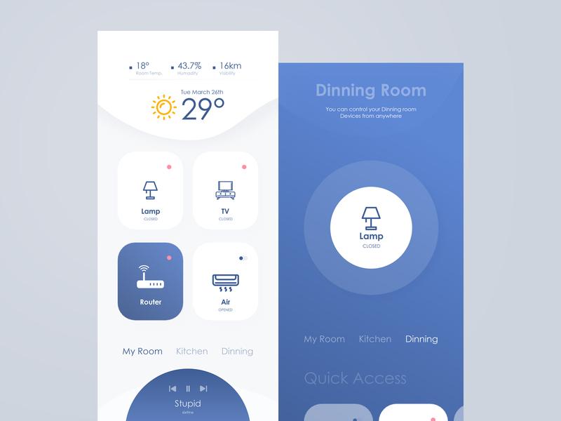 Smart Home animate smart home app android app design ios dark ui dark app app  automotion dailyui uidesign ui shot ux clean ui