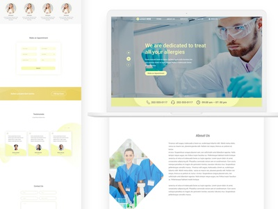 Landing page design for Allergy Testing Services logo animation gif colorful design medical design medical care design colorful ui dribbble branding vector animation after effects illustration web ui design webdesign uidesign dailyui ui ux clean ui