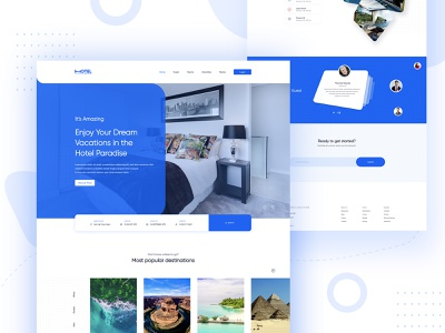Web UI-Hotel Landing Page minimal web flat art animation aftereffects gif vector icon typography branding logo illustration ux ui landing hotel design clean booking