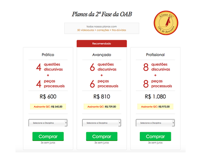 Table Price Oab assignature plans comparative interface design lawyer checkout law oab table price