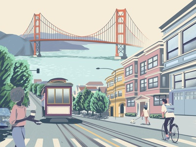 Hello San Francisco design city illustration