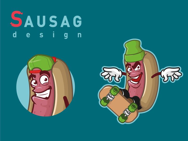 Branding Sausage flat vector skateboard illustrator branding character design