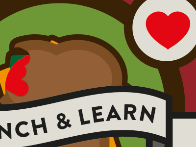 Lunch And Learn sandwich illustration thick stroke brandon grotesque heart patch