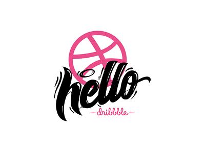 Hello Dribbble! letters font handmade custom calligraphy digital brush lettering handlettering hello debut