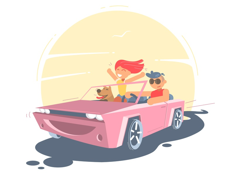 Couple enjoying a drive in a convertible vehicle summer smiling relaxing love happiness free escape enjoying driving young freedom travel couple convertible car cabriolet flat design illustration