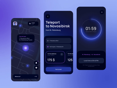 Teleportation app concept #3 purpule glow ios app go taxi animation product design dark theme navigation map ux teleportation future dark design interface app mobile ui mobile app ui