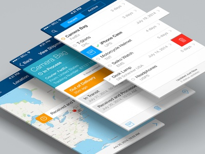 Shipments Tracker App concept clean ux shipments tracker delivery app ui iphone ios7 flat