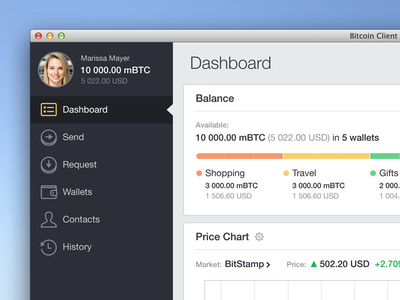 Bitcoin Client Redesign osx app flat mac ui ux concept payment bitcoin wallet dashboard icons