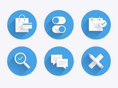 Flat Icons flat icons minimal blue web round vector long shadows