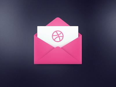 1 Dribbble Invite flat icon invite dribbble envelope contest
