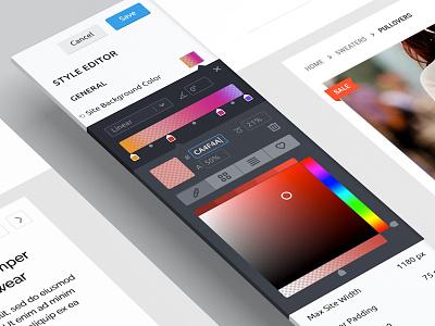 Color & Gradient Editor flat app ui ux clean gradient color editor web sidebar picker