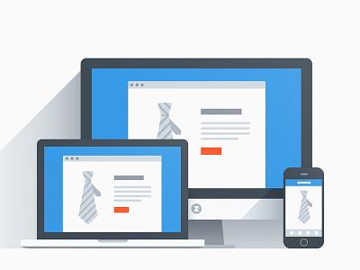 Responsive Page flat web illustration minimal blue grey long shadows vector