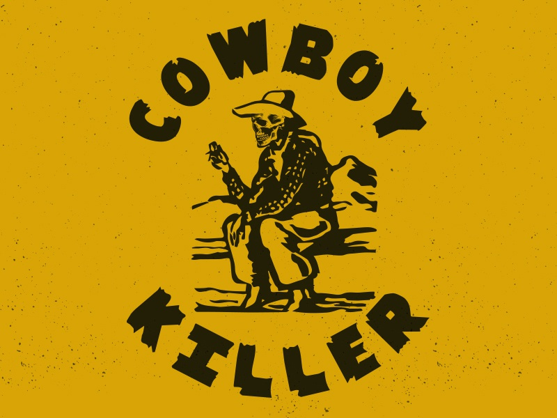 Cowboy Killer vintage old west yellow icon cowboy west western graphic illustration badge