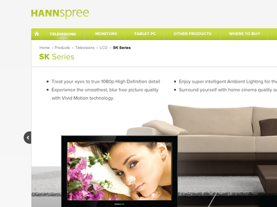 Hanspree website landing page product