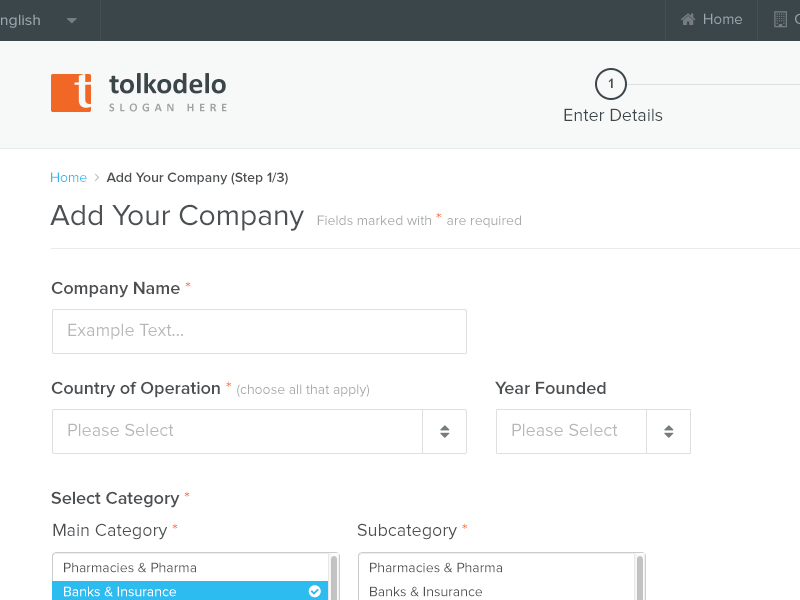 Tolkodelo ui ux form steps application