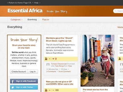 Essential Africa portal service ui ux app pinterest vote drum