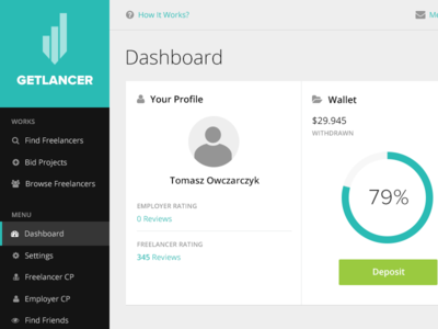 Getlancer  ux ui dashboard panel admin getlancer