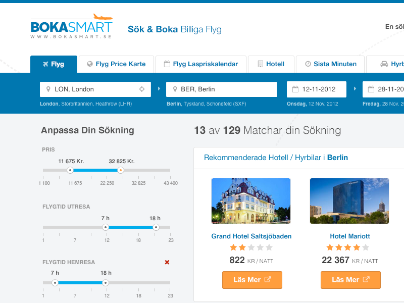 Bokasmart ui ux flights listing search airplane results flat booking bokasmart bootstrap