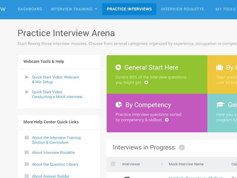 Biginterview Interview Area video tables help bootstrap arena interview app faq