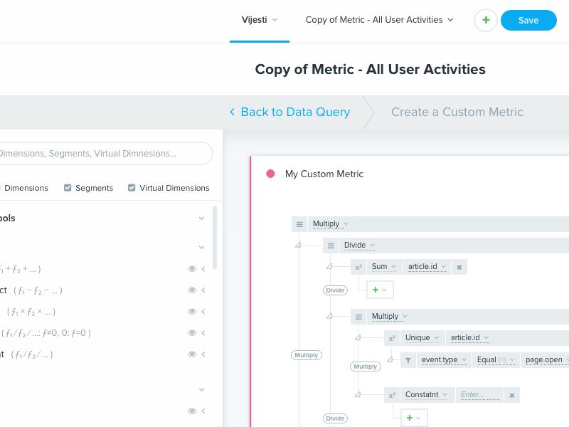 Metric/Query Builder flex bootstrap big data query builder query builder metric