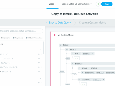 Metric/Query Builder flex bootstrap big data query builder query builder metric