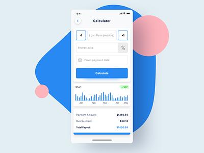 Financial calculator fintech calculate calculator finance ux ui flat design