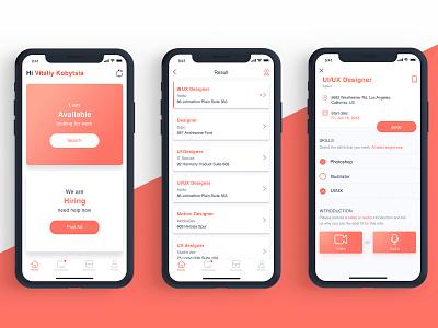 LetApp recruiter hr hiring cv minimal flat vector apiko app ui ux design