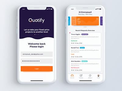 Quotify mobile app ux minimal ui branding app logo flat apiko design