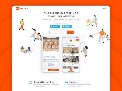 Markid Landing page app ux ui minimal flat apiko design