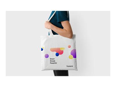 Franpos — Totebag colors metaballs tagline bag totebag logo identity brand identity design brand design brand branding